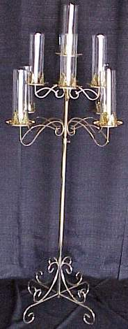 brass 9 branch with hurricanes candelabra
