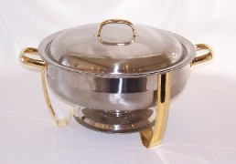 CHAFER, 8 QT GOLD SHALLOW