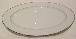 "white china with silver rim 17"" platter"