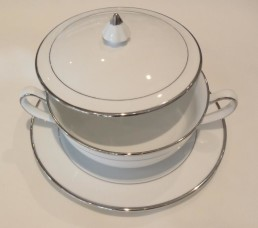 china & silver bouillon cup set