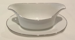 china with silver rim gravy boat