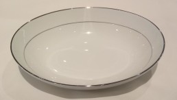 china with silver rim oval vegetable bowl-shallow