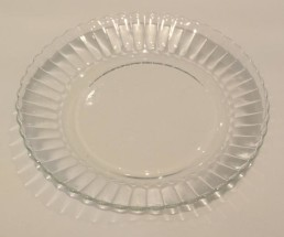 glass dessert plate with fluted rim