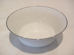 china with silver rim round vegetable bowl