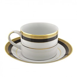 china black & gold coffee cup & saucer