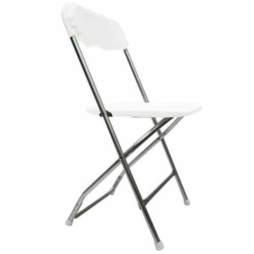 Chair, Folding White With Chrome Legs