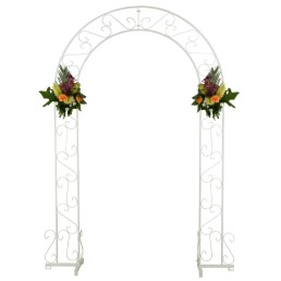 white metal wedding arch