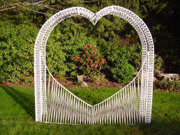 wicker heart wedding arch