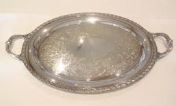 "21"" silver oval tray"