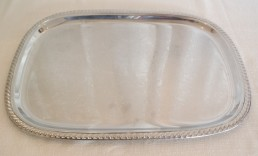 "22"" silver rectangular tray"