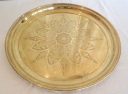 "22"" round brass tray"