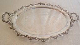 "24"" silver oval tray"