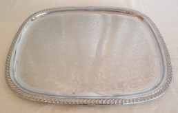 "24"" silver rectangular tray"