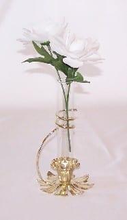 Bud Vase, Brass & Glass