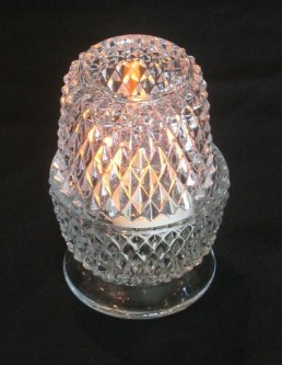CANDLE HOLDER DIAMOND CUT GLASS