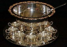 Punch Bowl, Silver 2.5 Gal Set