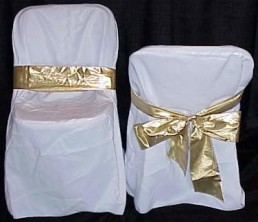chair cover gold lame sash