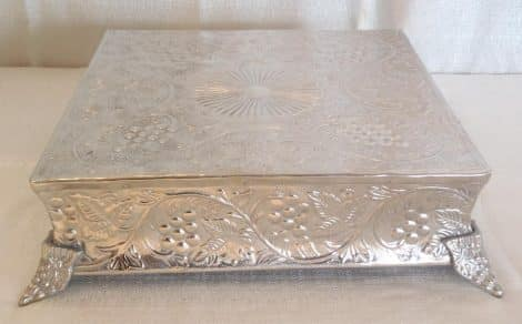"""Rent a 18"""" Silver Square Cake Stand"""