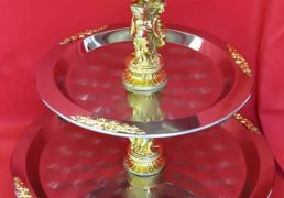 3 tier gold trimmed tray