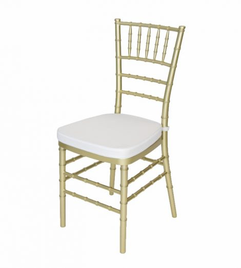 gold chivari chair white cushion