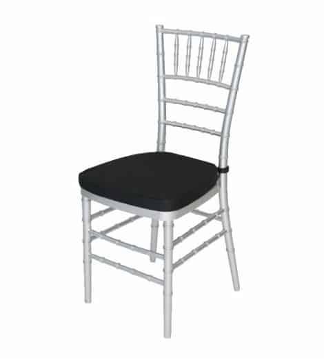 silver chivari chair with black cushion