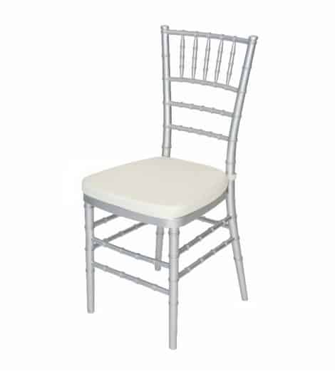 silver chivari chair with ivory cushion