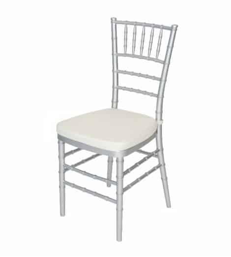 silver chivari chair with ivory cushion