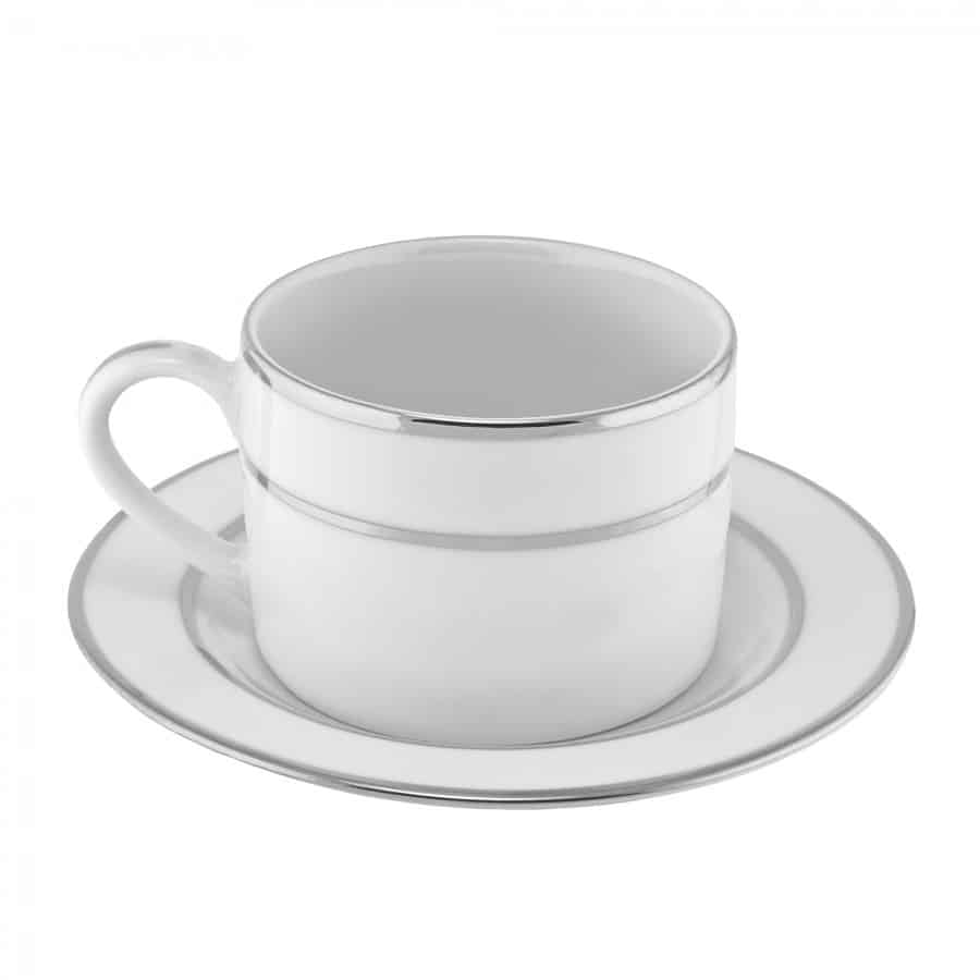 Coffee Saucer White Silver