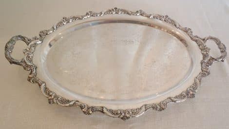 "silver 24"" oval tray"