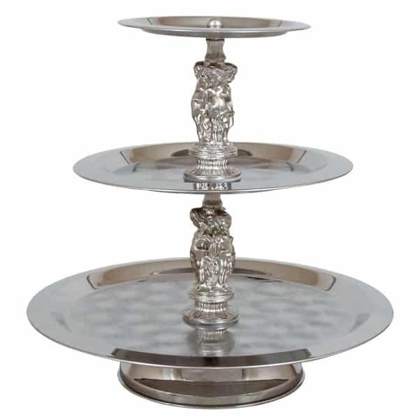 silver 3 tier tray