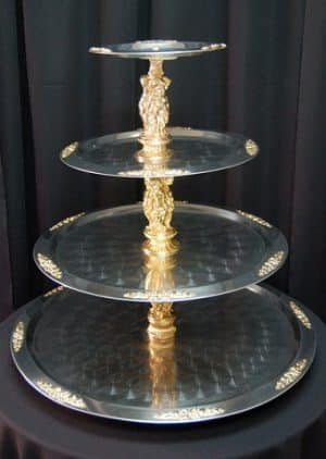 gold trimmed 4 tier tray