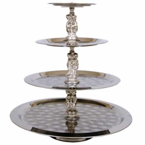 4 tier silver tray