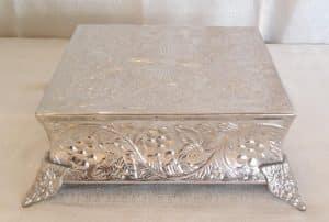 "silver square cake stand 14"""