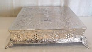 "silver square cake stand 22"""
