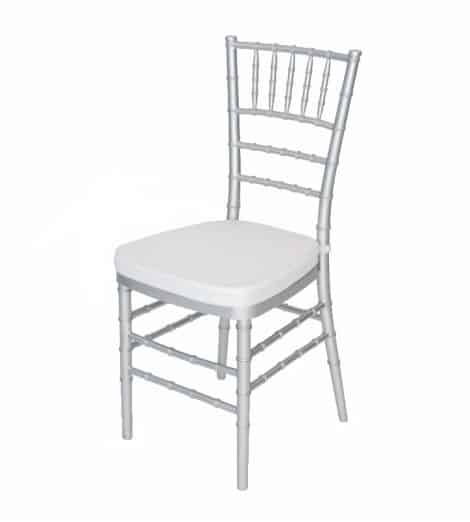 silver chivari chair with white pad