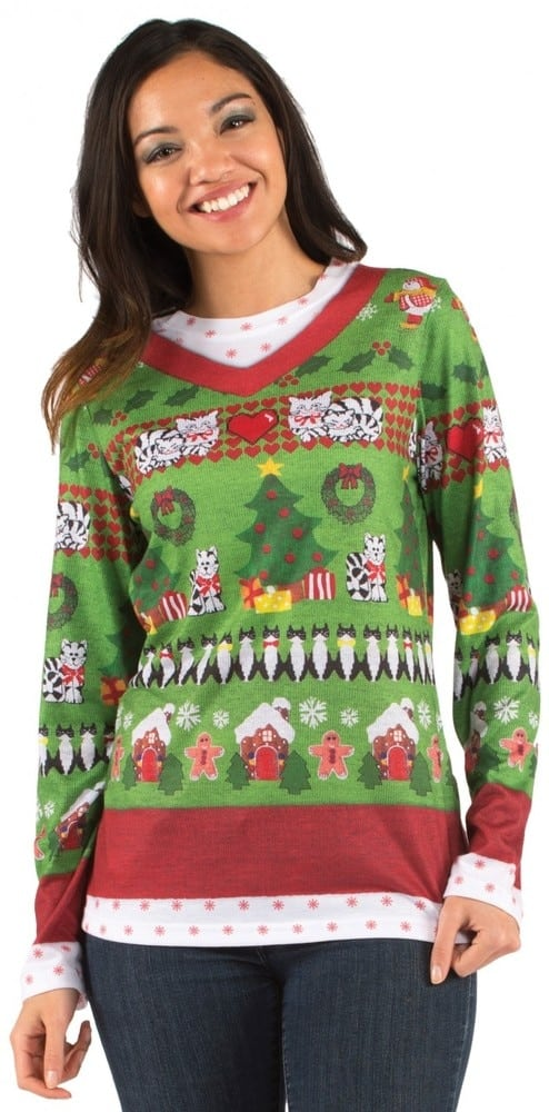Ugly Christmas Sweater Cat.Ugly Christmas Sweater Cats T Shirt
