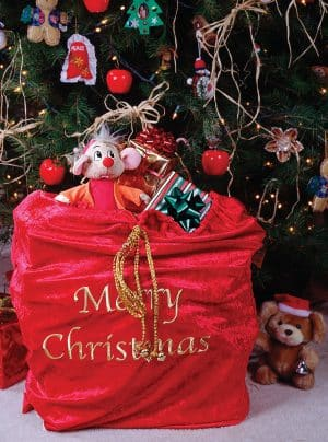 plush santa toy bag
